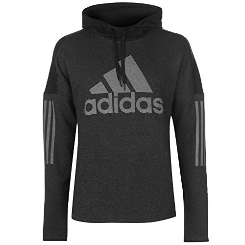 adidas Herren Kapuzen-Sweatshirt Sports ID Logo Po Fleece, Black Melange/Black, L, DM3674