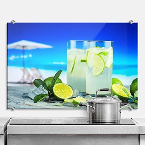 Spritzschutz Tropical Lime Getränke Limetten Saft tropisch Sommer Strand Cocktails Erfrischung Frucht Wall-Art - 100x70 cm