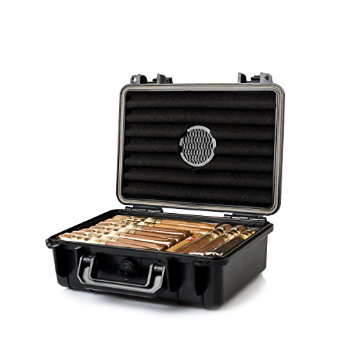 Jamestown Cigar Plastic Travel Humidor Case - Waterproof, Dustproof, Shockproof Premium Plastic Hard Shell Case - Built in Foam Humidor and Holds Up to 50 Full-Sized Cigars (Medium)