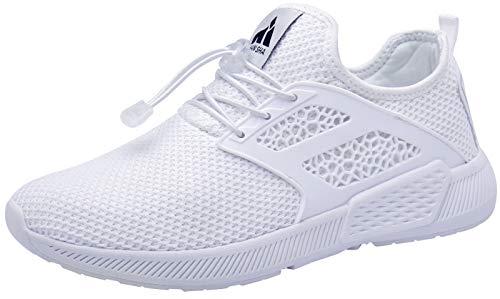 Mishansha Herren Damen Sportschuhe Sommer Atmungsaktiv Leicht Straßen Laufschuhe Männer Frauen Gym Fitness Walking Turnschuhe mit Schnellverschluss(Weiß, 42 EU)