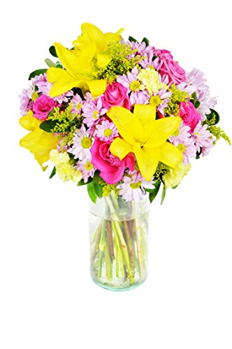 Arabella Bouquets | Fields of The World Bouquet of Fresh Cut Flowers in a Free Designer Glass Vase