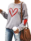 Tekaopuer Sudadera con estampado de corazones y estampado de dibujos animados para mujer, gris, XL