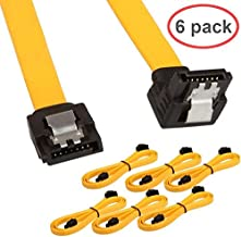 LINESO 6 Pack 90 Degree Right-Angle SATA III Cable 6.0 Gbps with Locking Latch 18Inches Yellow