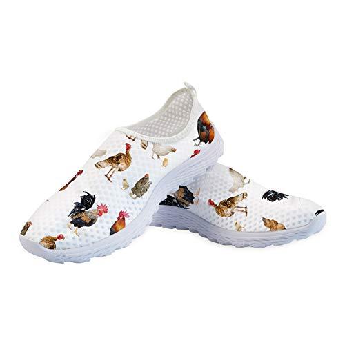 Binienty - Zapatillas deportivas de malla sin cordones para caminar, estilo casual, diseño 1, 37 EU