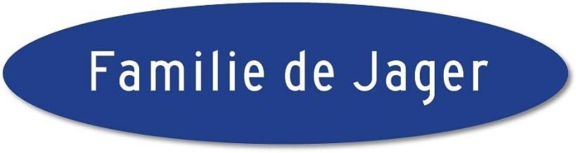 Naamplaatje blauw ovaal t.b.v. brievenbus, 12x4 cm