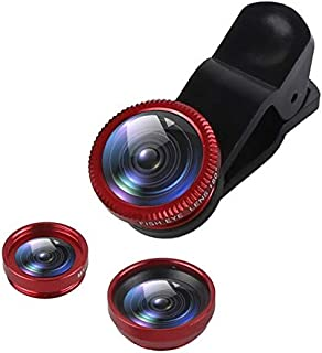 عدسات الهاتف المحمول - 3 في 1 زاوية واسعة ماكرو 180 درجة عدسات عين السمكة للهاتف المحمول عدسات عين السمك مع مشبك 0.67 × له...