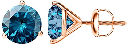 1 Carat Total Weight Blue Diamond Solitaire Stud Earrings Pair 14K Rose Gold Popular Premium Collection 3 Prong Screw Back