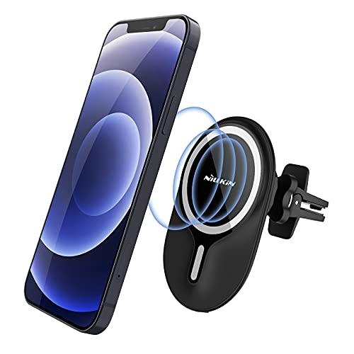 Nillkin Cargador inalámbrico para coche compatible con MagSafe, carga rápida de 7,5 W, con soporte magnético y orientación, compatible con iPhone 12/12 Pro/12 Mini/12 Pro Max (negro)