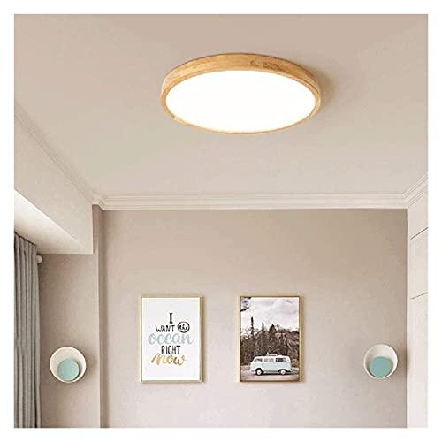 L.W.S Candelabro Luz de Techo Redonda LED de Madera Maciza Ultrafina ara?a de acrílico luz cálida Dormitorio Moderno Simple Comedor Sala de Estar balcón Pasillo Porche 40 * 40 * 5