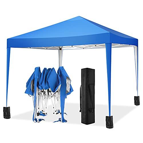 TOOLUCK Gazebo 3x3m Gazebo da Giardino Impermeabile Tenda da Giardino Pieghevole con 4 Sacchetto di Peso per Spiagge Picnic Festa Matrimonio Terrazza Festa Mercato, 3x3M, Blu