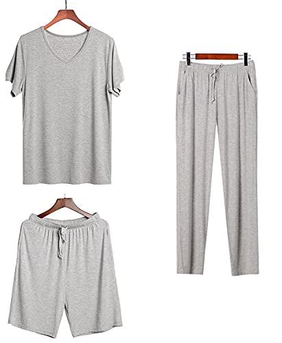 Breathe Pijama de Hombre, 3 Piezas, Ropa para Dormir de 100% Modal Orgánico, Suave y Ligero, Camiseta Manga Corta, Pantalones Cortos y Pantalones Largos para Hombres (M, m)