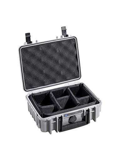 B&W Transportkoffer Outdoor Typ 1000 grau mit variabler Facheinteilung - wasserdicht nach IP67 Zertifizierung, staubdicht, bruchsicher und unverwüstlich