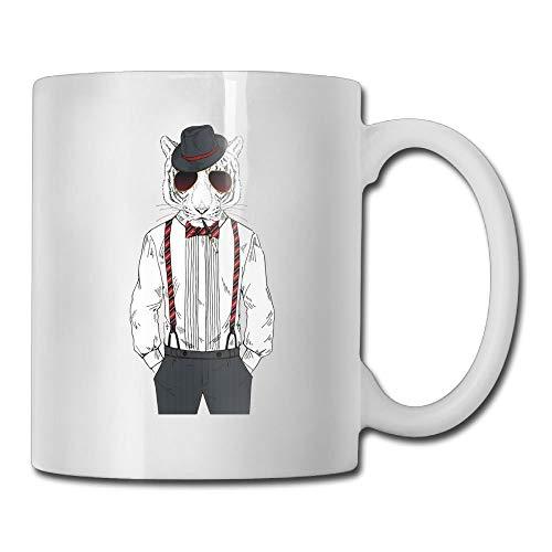 Daawqee Becher Coffee Mug Tigers Wear Suits Mugs Funny Ceramic Coffee Tea Cups Double-Side Printing 11oz