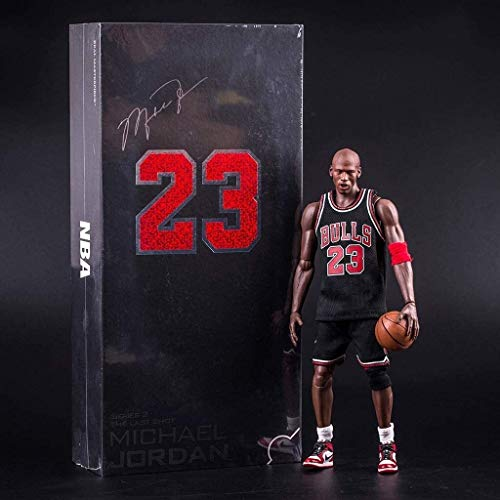 WaWeiY Michael Jordan Action Figure Black Bulls Jersey Popular Basketball Player Model Kit Exquisite Packaging