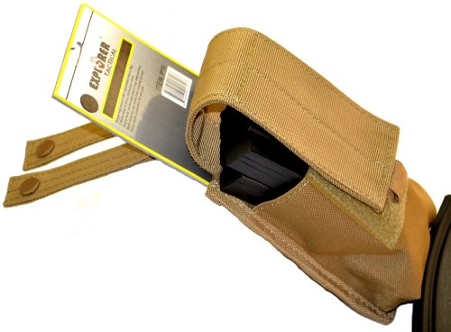 Explorer Tactical Velcro & MOLLE Single Pistol Magazine/Knife Carry Pouch, Tan, 5 x 1.5 x 6 inches (W1-CT)