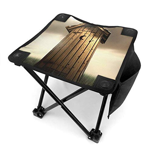 End Nazi Taburete de Camping Sillas Plegables Vintage Wood House Outhouse Silla portátil Asiento