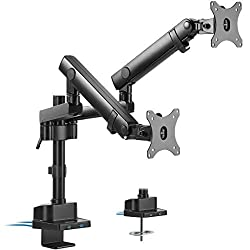 VIVO Premium Aluminum Full Motion Dual Monitor Desk Mount Stand with Lift Engine Arm