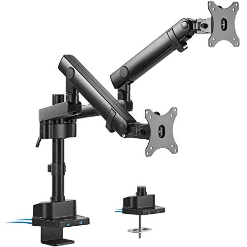 VIVO Premium Aluminum Full Motion Dual Monitor Desk Mount Stand with Lift Engine Arm, Pole Extension, and USB Ports | Fits Screens up to 32 inches (STAND-V102BDU)
