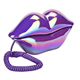 Corded Desktop Landline Phone,Novelty Purple Lips Wired Telephone, Electroplate Wired Telephone for Home Office Decoration,Ideal Gift for Your Friends