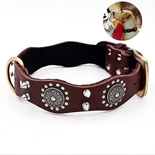 XBSXP Collar para Perro con Pinchos Collar para Perro Mediano y Grande Collar para Perro Mascota Piel de Vaca Remache Retro Bulldog Robusto y Duradero, Marrón, L