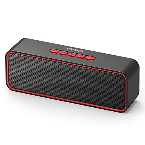 Wireless Bluetooth Lautsprecher, Sonkir Tragbarer Bluetooth 5.0 TWS Lautsprecher mit Dual-Treiber Bass, 3D-Stereo, FM Radio, Freisprechfunktion, integriertem 1500-mAh-Akku, 12-Stunden-Spielzeit