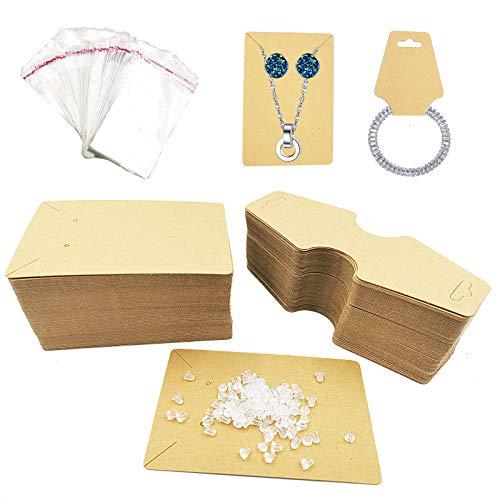 200 piezas Pendientes Soporte para collar Tarjetas de exhibición de papel Kraft 200 piezas de respaldo de aretes y 100 bolsas de sellado autoadhesivo, para empaquetar exhibición de joyería