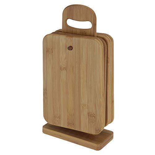 Oramics Juego de tablas de cortar – 7 piezas – 6 tablas de bambú con soporte para tabla – tablas de desayuno, tablas de cortar resistentes con soporte para cocina y mesa de comedor