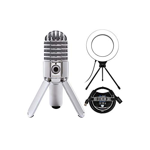 """Samson Meteor Mic USB Studio Condenser Microphone with Mute Switch for Windows, Mac (Chrome) Bundle with Blucoil 6"""" Dimmable Selfie Ring Light, and 3-FT USB 2.0 Type-A Extension Cable"""