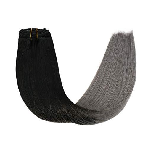 Sunny 14Pouces Ombre Extension Clips Te and Dye Remy Cheveux Naturels Lisse 7pcs Tete Pleine 100% Vrai Cheveux Extension Naturel a Clips Naturel Noir a Bleu Gris 120g
