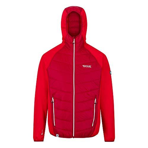 Regatta Andreson V Hybrid-Jacke für Herren, dehnbar, wasserabweisend, isoliert, komprimierbar, leicht, mit Kapuze 3XL rot
