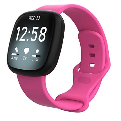 Jennyfly Fitbit Versa 3 Armband, Herren, große Größe, weich, schweißfest, Silikon, Sportarmband, Ersatzarmband, wasserdicht, Zubehör, verstellbar, 18 - 22,1 cm, für Fitbit Sense/Versa 3 – Pink