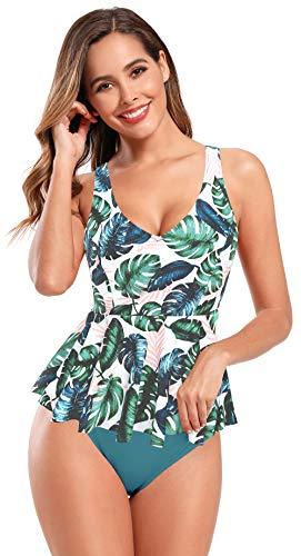 SHEKINI Traje de Baño Acolchado con Cuello En V y Estampado Tankinis para Mujer Traje de Baño de Una Pieza Traje de Baño con Dobladillo con Volantes (Verde Oscuro, L)