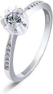lem Abrillantador de anillos925 Sterling Silver Cubic Zirconia Solitaire Promise Forever Eternity Engagement Anillos de Bo...