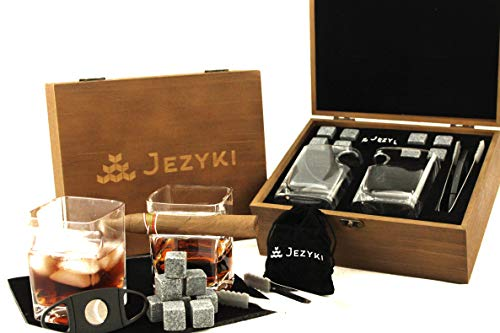 Whiskey cigar glasses gift set of 2 - Old Fashioned Square Glasses with intended cigar rest, 8 Granite Chilling Rocks, Tongs, Velvet Pouch and Cigar Cutter. Best gift set for dad, husband..
