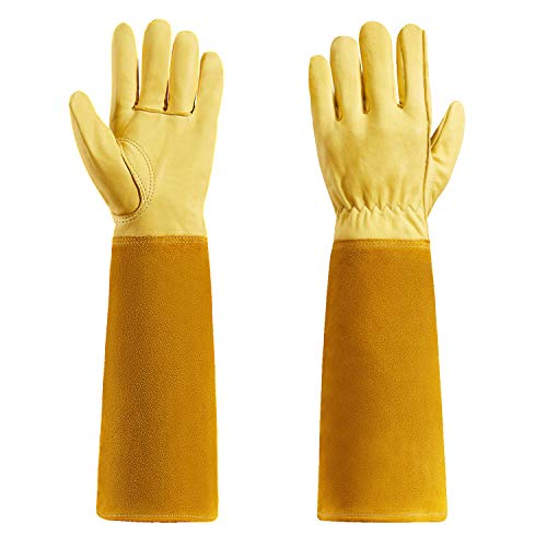 Rose Pruning Garden Gloves Thorn proof Goatskin Gardening Gloves For Men And Women With Long Cow...