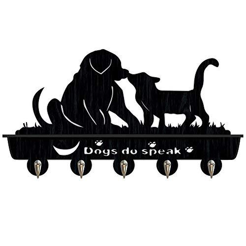 Percheros Pared Perchero Entrada Recibidor Después de ganchos for llaves silueta de perros ropa del gancho de la pared de madera y gatos instalación de la puerta de la capa / perchero / gancho de la p