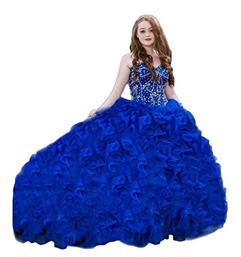 XSWPL Gorgeous Heavy Beaded Organza Quinceanera Dresses for Sweet 16 Ball Gowns Royal Blue