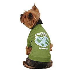 Casual Canine Bark If You Love The Planet Pet Tee Shirt in green color