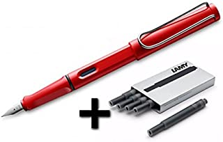 Lamy Safari Fountain Pen (M) Hot Red & 5 Black Ink Cartridges