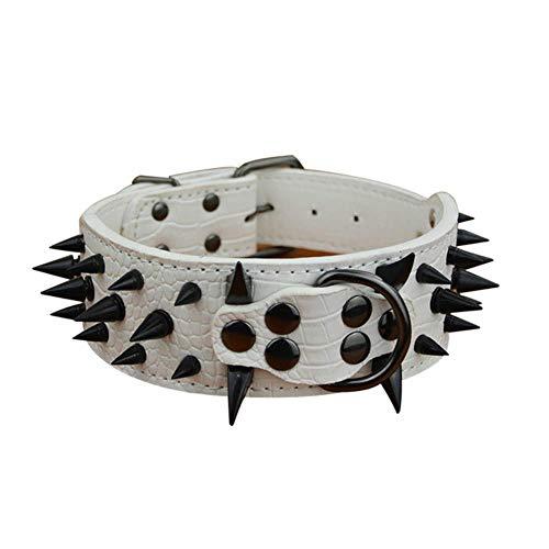 rojo Rantow Ajustable Collar de cuero fuerte para perros grandes longitud ajustable 23.5 pulgadas a 27.5 pulgadas 1,57 pulgadas de ancho
