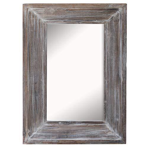 Barnyard Designs Decorative Distressed Wood Frame Wall Mirror, Large Rustic Farmhouse Mirror -