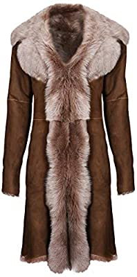 Beaver Ladies Women's Real Toscana Sheepskin Leather Suede Jacket Trench Coat 2XL Brown