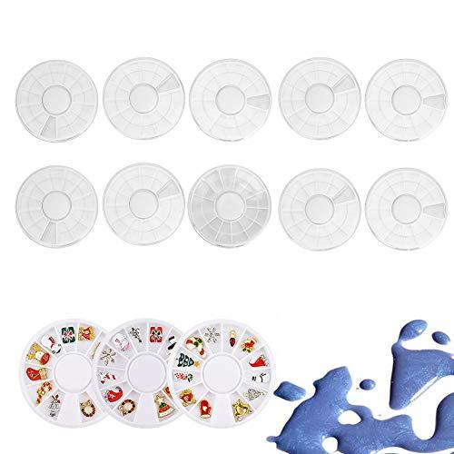 Boîte à bijoux ongles,10pcs Nail Art Décoration Perles Strass Conteneur De Stockage 12 Grilles Boîte De Roue Vide Boîte De Manucure Professionnelle Boîte De Bijoux