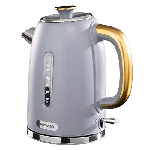 Daewoo SDA1817 Astoria Edelstahl, Deckelöffnung und automatischer/manueller Abschaltung, 220–240 V, Trockengehschutz und Kabelaufbewahrung, zeitloses Design für jede Küche, 1,7 l Wasserkocher (grau)