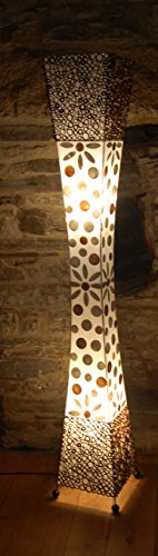 Sassak 147 cm Floor Standing Lamp from Bali Made from Bamboo Ring and Shell -