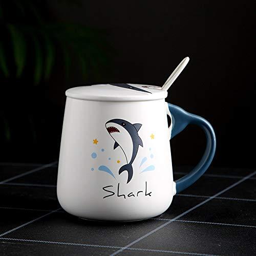 Xiaobing Pareja de Dibujos Animados creativos Taza de cerámica Taza de Agua Taza de café de Desayuno de Leche Personalizada -D81-401-500ml