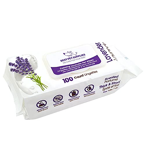 Best Pet Supplies Lavender-Scented Calming Pet Wipes for Dogs & Cats – Extra Soft & Strong Grooming Wipes with Gentle Plant-Derived Formula, Model Number: WW-LA-100T