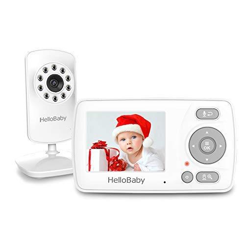 HelloBaby Babyphone mit Kamera, Infrarot-Nachtsicht, VOX-Modus, Zwei-Wege-Audio, digitaler Zoom, Fütterungsalarm, HB30