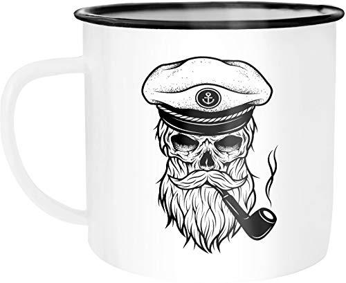 Moonworks Emaille Tasse Becher Totenkopf Captain Skull Kapitän Anker Kaffeetasse weiß-schwarz unisize