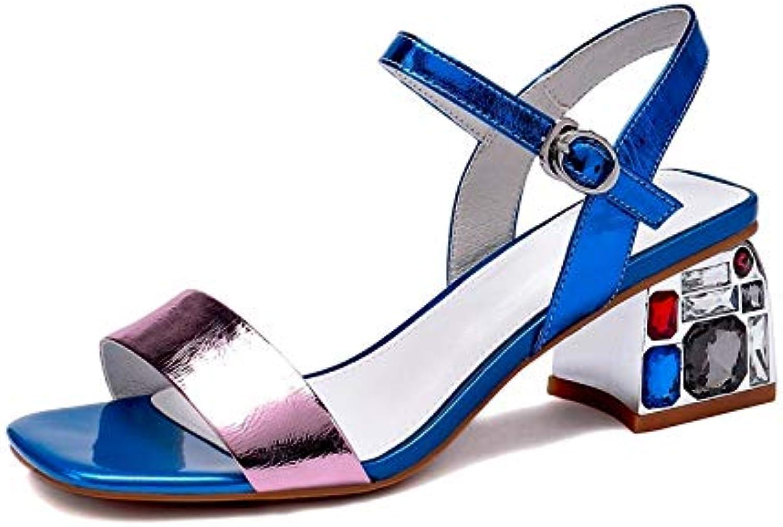 MENGLTX High Heels Sandalen 2019 Neue Ankunft Frauen Sandalen Mischfarben Mischfarben Mischfarben Kristall Sommer Schuhe Schnalle Quadratische Fersen Casual Kleid Büro Schuhe Damen B07QLTXMFT  Geeignet für Farbe a5e870